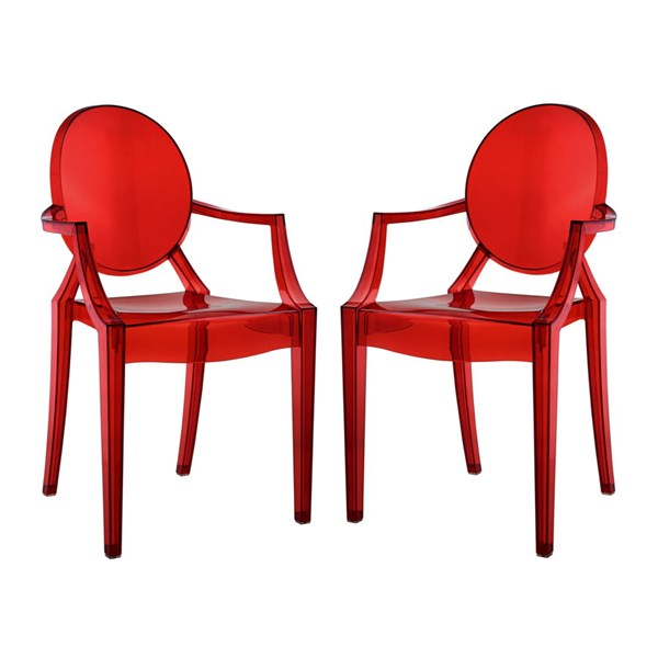 2 Casper Contemporary Red PVC PC Dining Armchairs EEI-905-RED
