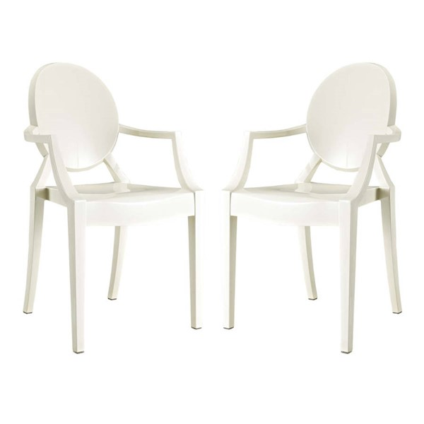 2 Modway Furniture Casper White Dining Armchairs EEI-905-WHI