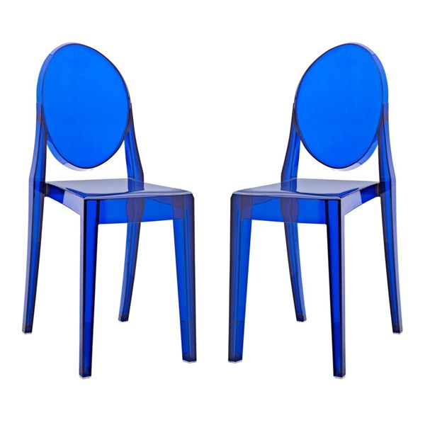 2 Casper Contemporary Blue Polycarbonate Dining Chairs EEI-906-BLU