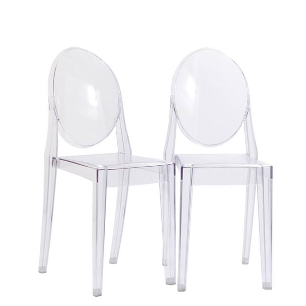 2 Casper Contemporary Clear Polycarbonate Dinette Chairs EEI-906-CLR