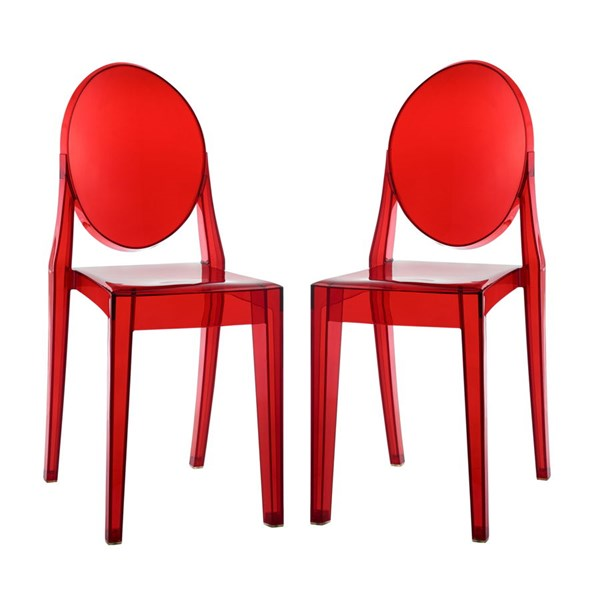 2 Casper Contemporary Red Polycarbonate Dining Chairs EEI-906-RED