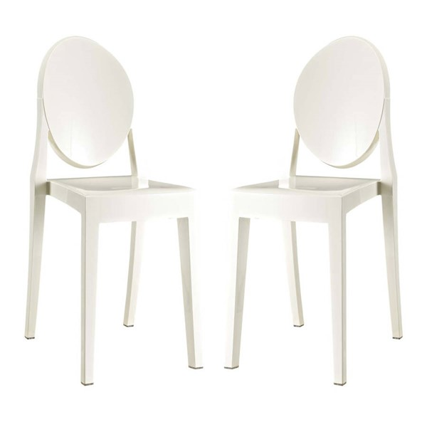 2 Modway Furniture Casper White Dining Chairs EEI-906-WHI