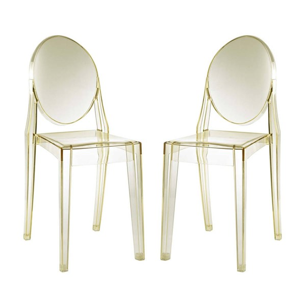 2 Modway Furniture Casper Yellow Dining Chairs EEI-906-YLW