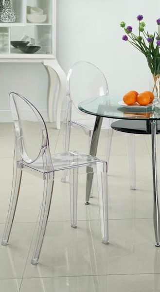 4 Casper Contemporary Clear Polycarbonate Dinette Chairs EEI-908-CLR