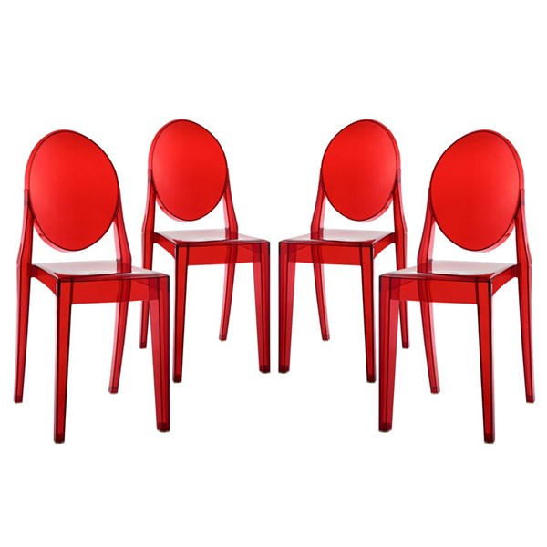 4 Casper Contemporary Red Polycarbonate Dining Chairs EEI-908-RED