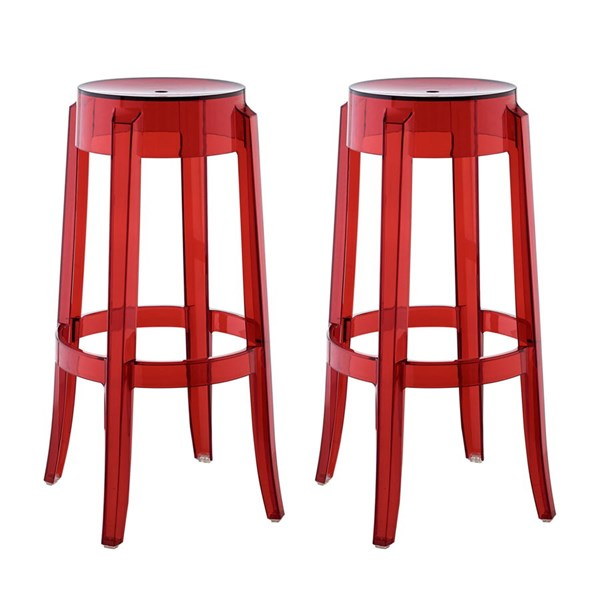 2 Casper Red Polycarbonate Bar Stools EEI-909-RED