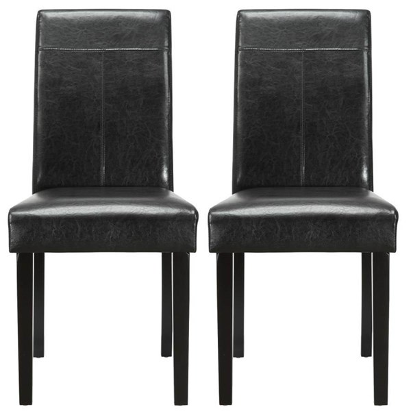 2 Black Wood Frame, Vinyl Upholstery Compass Dinette Chairs EEI-917-BLK
