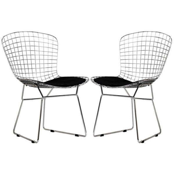 2 Modway Furniture CAD Black Dinette Chairs EEI-925-BLK