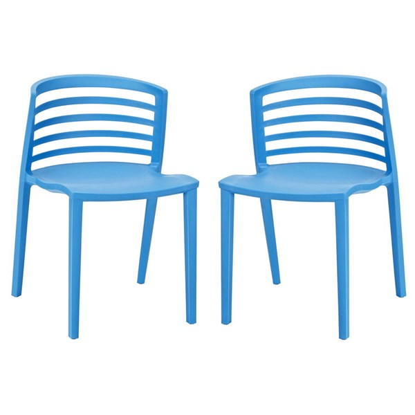 Curvy Contemporary Blue Plastic PP Dining Chairs EEI-935-DR-CH-VAR