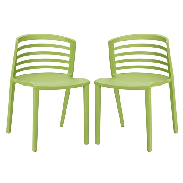 2 Curvy Contemporary Green PP Plastic Dining Chairs EEI-935-GRN