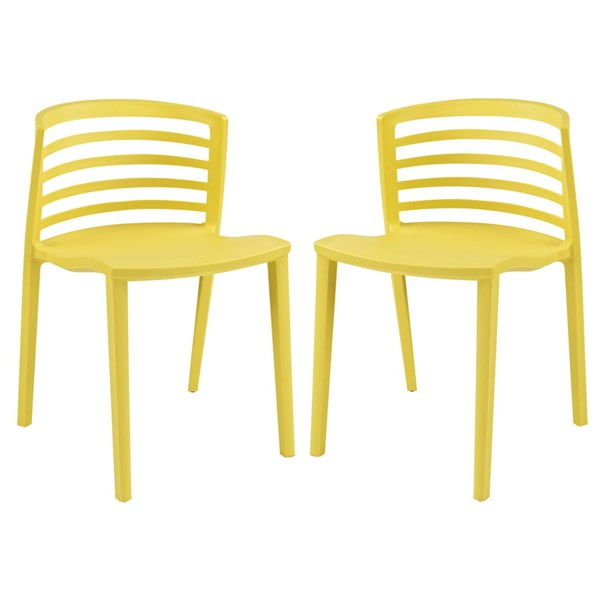 2 Curvy Contemporary Yellow PP Plastic Dining Chairs EEI-935-YLW