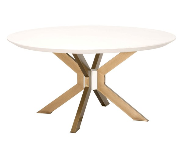 Essentials For Living Industry Ivory, Whitewashed Round Dining Table