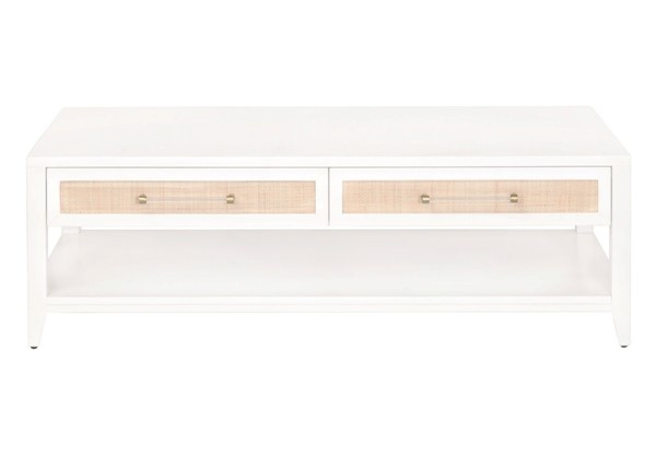Essentials For Living Holland Matte White Natural Coffee Table EFL-6143-WHT-NAT