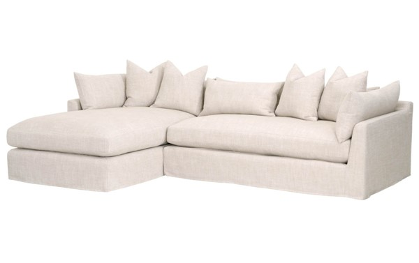 Essentials For Living Haven Bisque Espresso Lounge Slipcover LAF Sectional EFL-6606-LF-BISQ