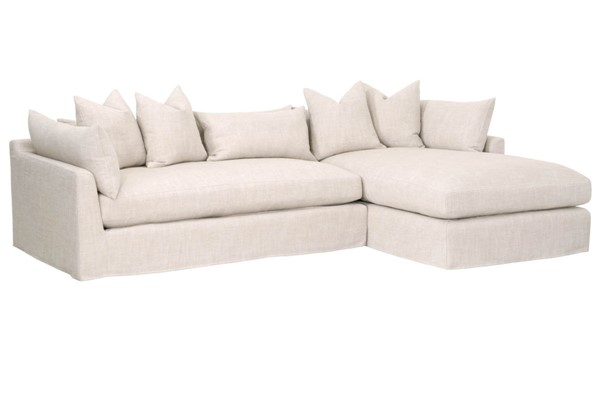 Essentials For Living Haven Bisque Espresso Lounge Slipcover RAF Sectional EFL-6606-RF-BISQ