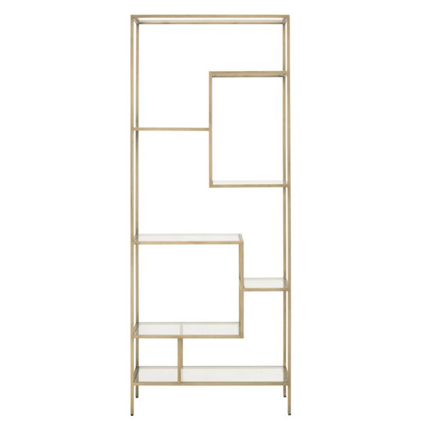 Essentials For Living Beakman Brass Clear Bookcase EFL-4606-BRA