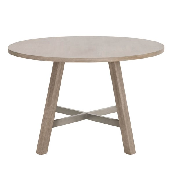 Essentials For Living Cross Natural Gray 47 Inch Round Dining Table EFL-6126-NG-BSTL