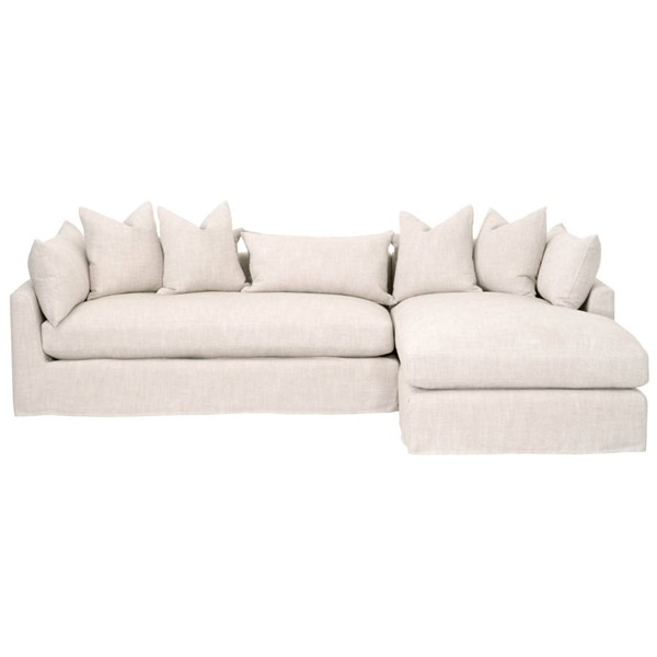 Essentials For Living Haven Bisque Espresso 110 Inch RAF Sectional EFL-6606-RF-BISQ