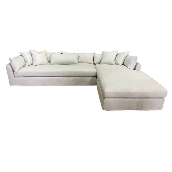 Essentials For Living Haven Bisque Espresso 134 Inch RAF Sectional EFL-Z-S0625