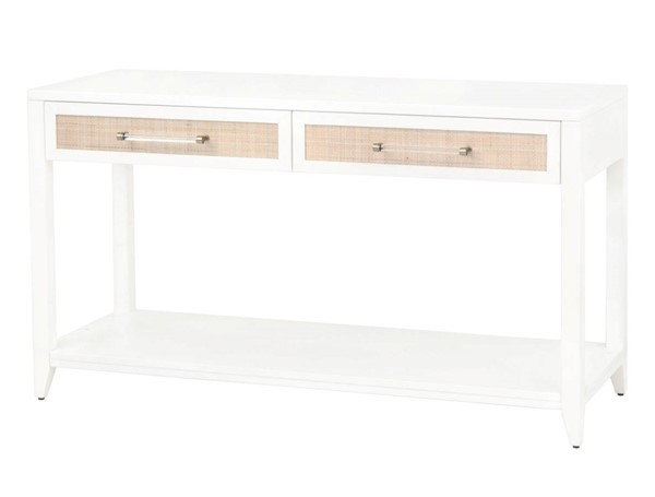 Essentials For Living Holland Matte White Natural 2 Drawers Console Table EFL-6145-WHT-NAT
