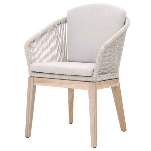 2 Essentials For Living Islay Taupe White Outdoor Arm Chairs EFL-6855-WTA-PUM-GT