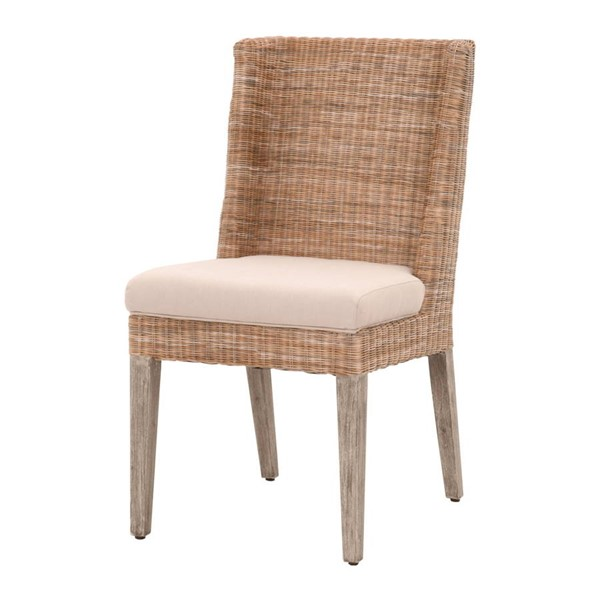 2 Essentials For Living Isle Light Gray Fabbric Dining Chairs EFL-6841-NAT-RUS-LGRY-NG