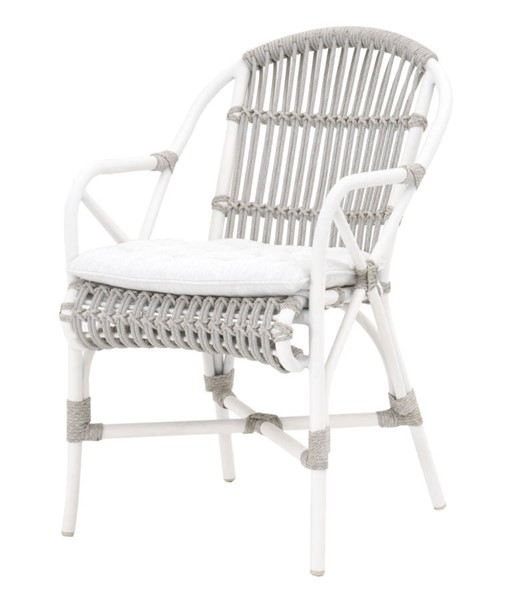 2 Essentials For Living Lido White Taupe Outdoor Arm Chairs EFL-6807-WTA-WHT-WHT
