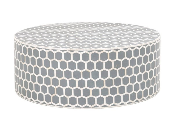 Essentials For Living Link Dark Gray White Round Coffee Table EFL-Z-KC501