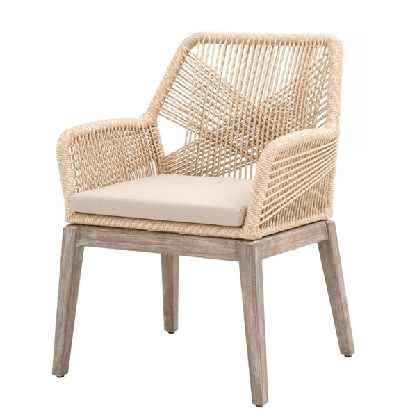 2 Essentials For Living Loom Light Gray Sand Rope Outdoor Dining Arm Chairs EFL-6809KD-SND-LGRY-NG