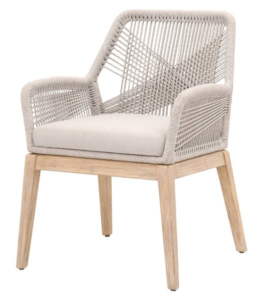 2 Essentials For Living Loom Taupe White Arm Chairs EFL-6809KD-WTA-FPUM-NG