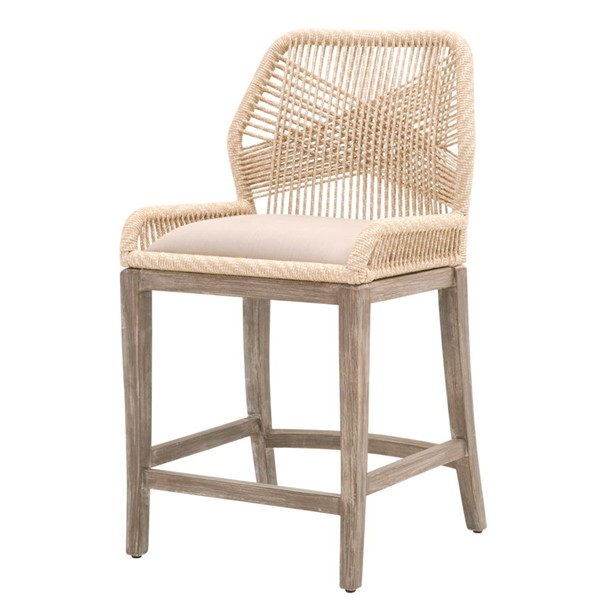 Essentials For Living Loom Light Gray Sand Rope Outdoor Counter Stool EFL-6808CS-SND-LGY-NG