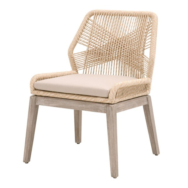 2 Essentials For Living Loom Light Gray Sand Rope Outdoor Dining Chairs EFL-6808KD-SND-LGRY-NG