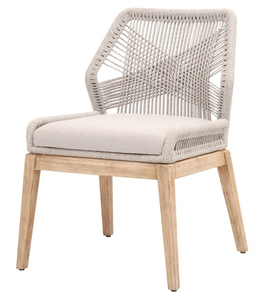 2 Essentials For Living Loom Taupe White Dining Chairs EFL-6808KD-WTA-FPUM-NG