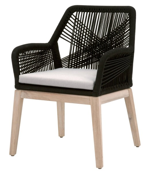 2 Essentials For Living Loom Black Pumice Outdoor Arm Chairs EFL-6809KD-BLK-PUM-GT