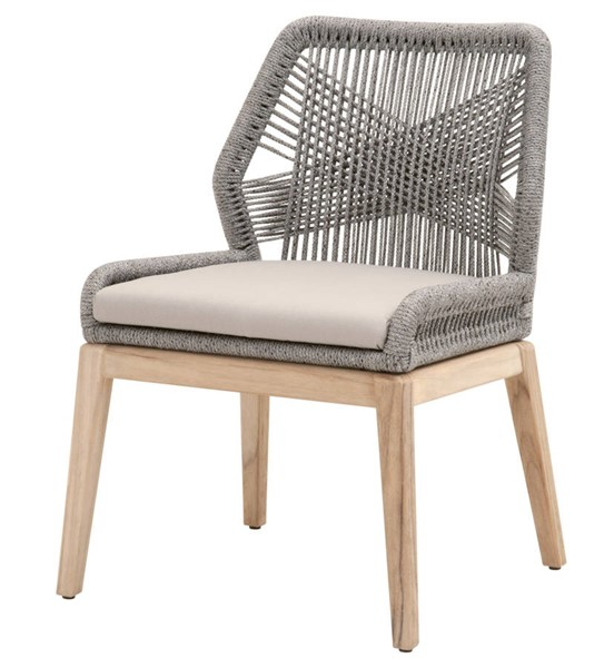2 Essentials For Living Loom Platinum Smoke Gray Outdoor Dining Chairs EFL-6808KD-PLA-R-SG-GT