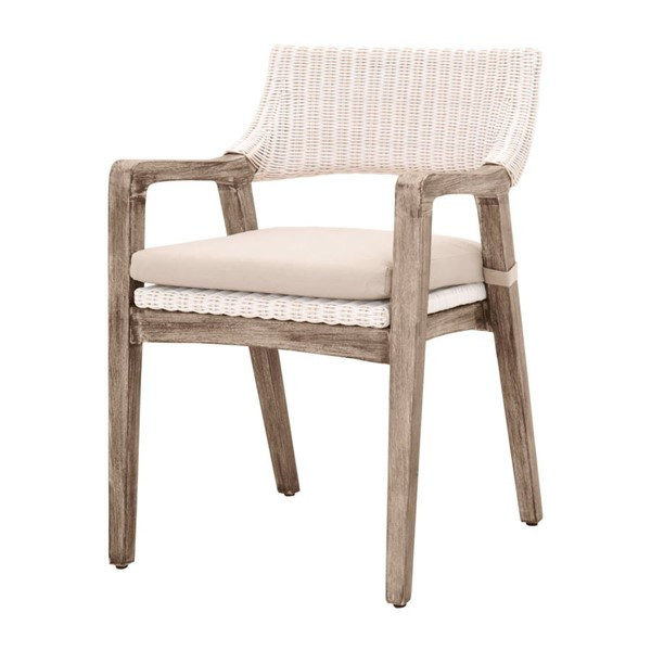 Essentials For Living Lucia White Light Gray Fabric Dining Arm Chair EFL-6810-WW-LGRY-NG