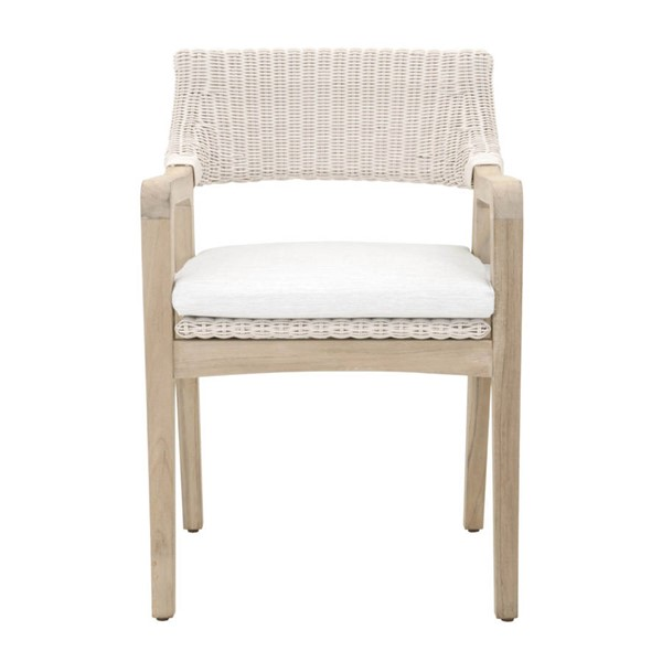 Essentials For Living Lucia Gray White Outdoor Arm Chair EFL-6810-PW-WHT-GT