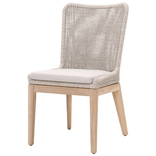 2 Essentials For Living Taupe White Mesh Dining Chairs EFL-6854-WTA-PUM-GT