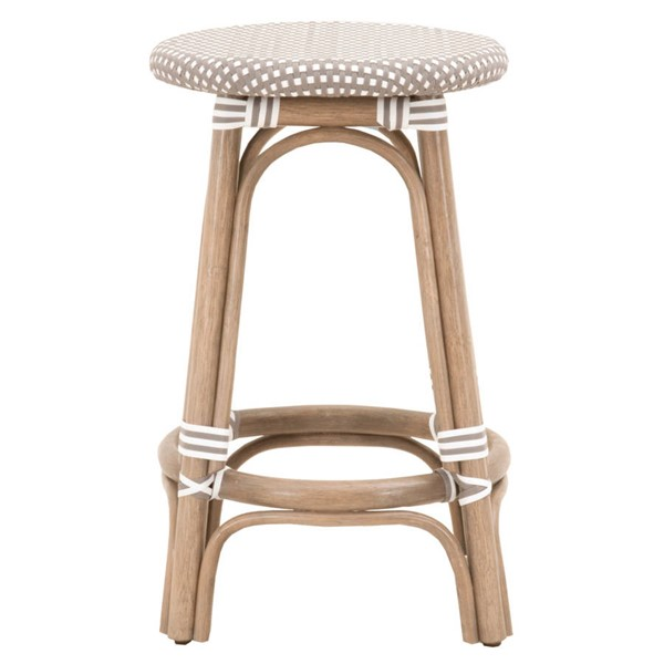 Essentials For Living Paris Gray White Backless Counter Stool EFL-6858CS-OGR-GRY-WHT