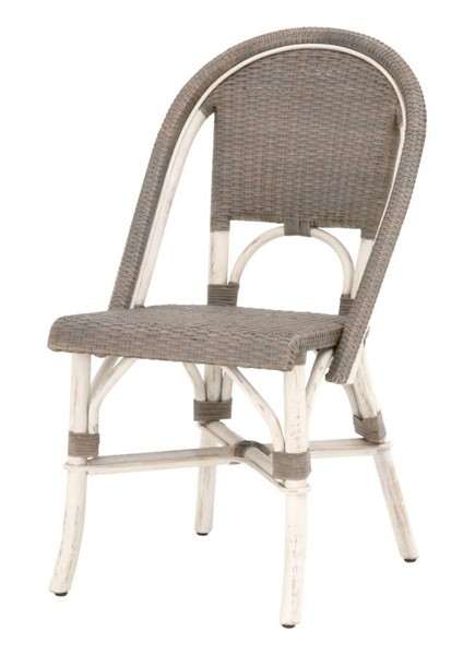 2 Essentials For Living Paris Antique White Sanded Gray Dining Chairs EFL-Z-T0646