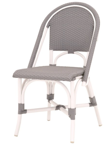 2 Essentials For Living Paris White Gray Outdoor Dining Chairs EFL-Z-T0651