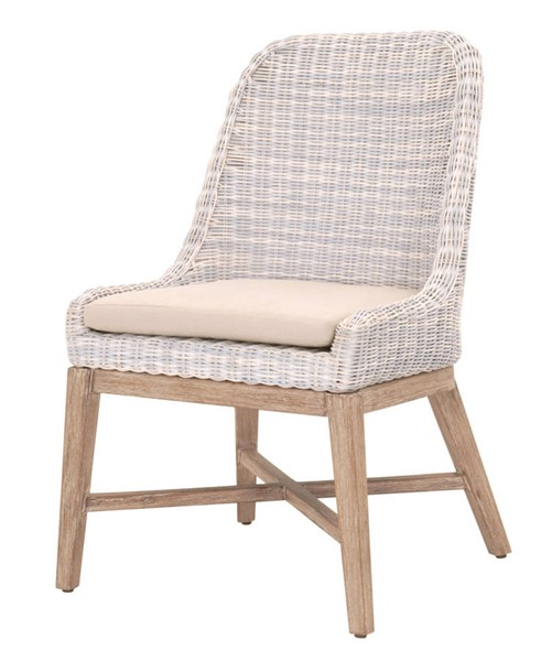 2 Essentials For Living Plage Cream White Light Gray Dining Chairs EFL-6842-CWHT-LGRY-NG