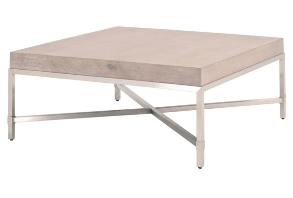 Essentials For Living Strand Natural Gray Square Coffee Table EFL-6117SQ-NG-BSTL