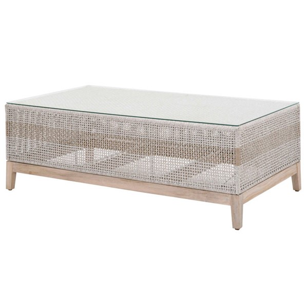 Essentials For Living Tapestry Taupe White Outdoor Coffee Table EFL-6846-WTA-GT