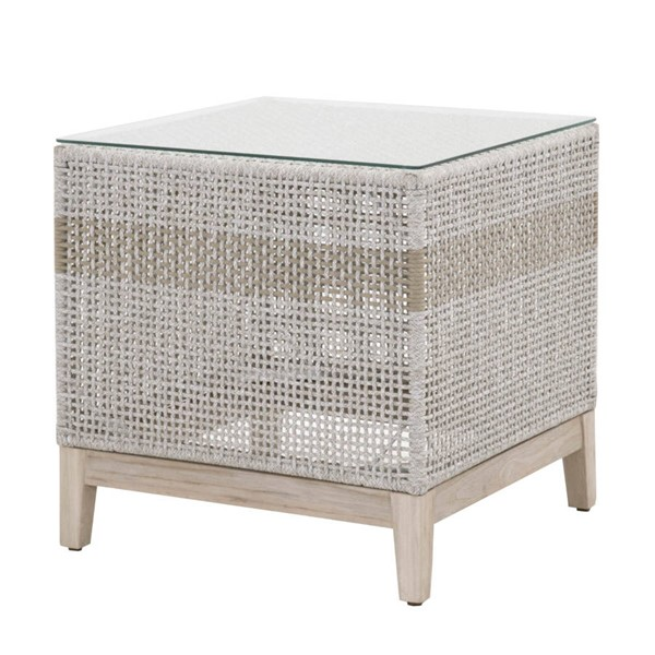 Essentials For Living Tapestry Taupe White Outdoor End Table EFL-6847-WTA-GT