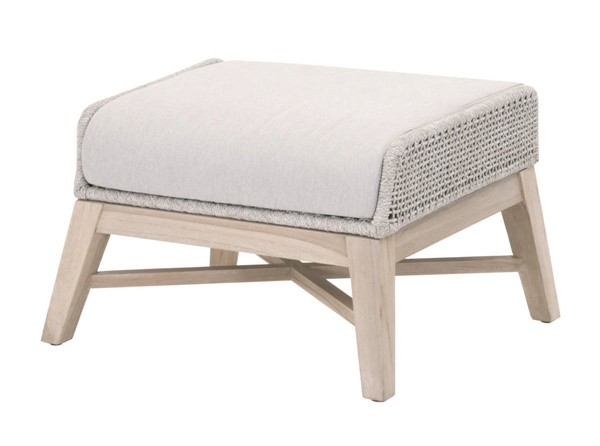 Essentials For Living Tapestry Taupe White Gray Outdoor Footstool EFL-6851FS-WTA-PUM-GT