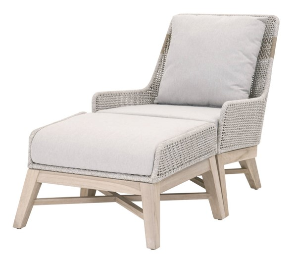 Essentials For Living Tapestry Taupe White Gray Outdoor Club Chair and Ottoman Set EFL-6851-OCH-OTT-SET