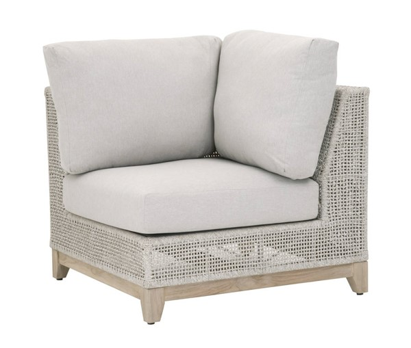 Essentials For Living Tropez Taupe White Gray Outdoor Corner Sofa EFL-6843-CRN-WTA-PUM-GT