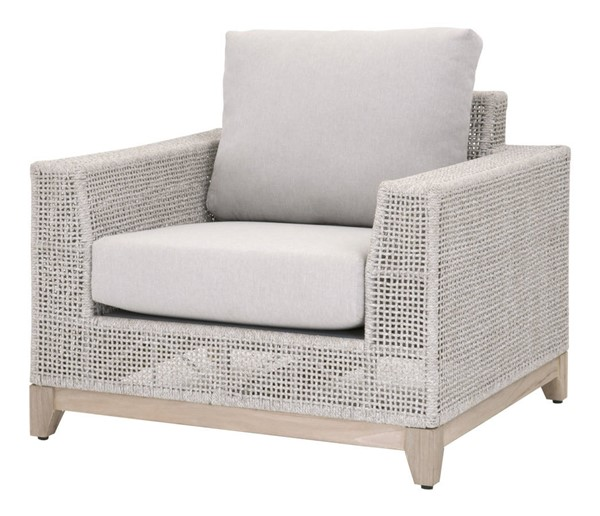 Essentials For Living Tropez Taupe White Gray Outdoor Sofa Chair EFL-6843-1-WTA-PUM-GT
