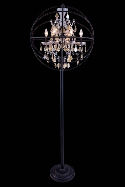 Elegant Decor 6 Light Golden Royal Crystal Floor Lamps ELED-1130FL24-GT-RC-LMP-VAR